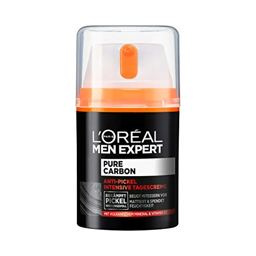 L'Oréal Men Expert Gesichtspflege für Männer, Anti-Pickel Feuchtigkeitscreme mit Vitamin B3 und vulkanischem Mineral, Pure Carbon, 1 x 50 ml