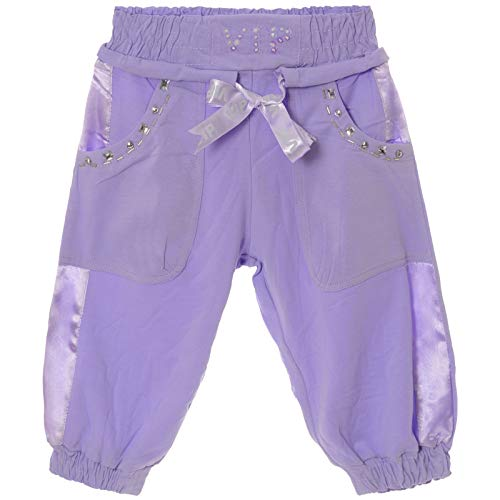 Mädchen Bermud Kurze Capri Stoff Pump Hose elastischer Bund Perlen 21415 Lila 176