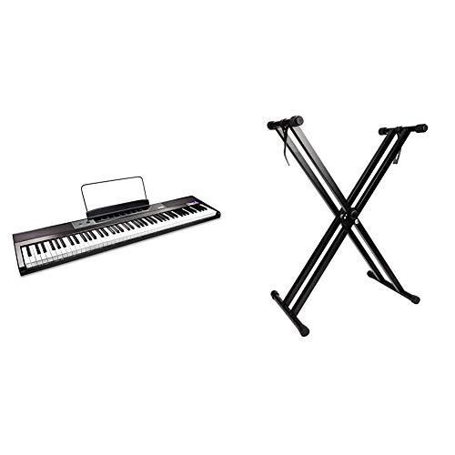 RockJam Teclado de piano digital para principiantes Piano con teclas semipesadas de tamaño completo + Soporte de teclado de doble refuerzo, Ajustable de 29 cm a 91 cm