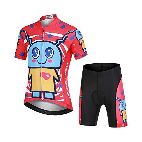 LSHEL Jersey Maillot de Cyclisme Dessin Animé Unisexe pour Enfants Ensemble de Cyclismes Vélo Manches Courtes + Short, Animal de Compagnie, 11-12ans/XL