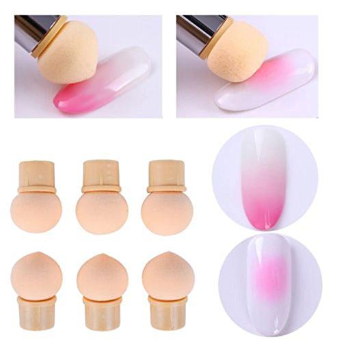 OurLeeme Pennelli per unghie, Nail Art Spugna Brush Head 6PCS riutilizzabile Nail Art Gel UV che fiorisce che punteggia pittura pennello spugna teste sostituzione