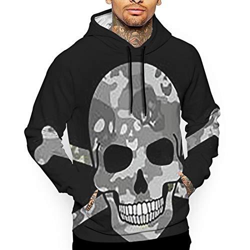 YUYUYU Skulls Africa American Military Army Camouflage Pattern Men's Outdoor Hooded Sweatshirt Thermal Winterwear Pullover
