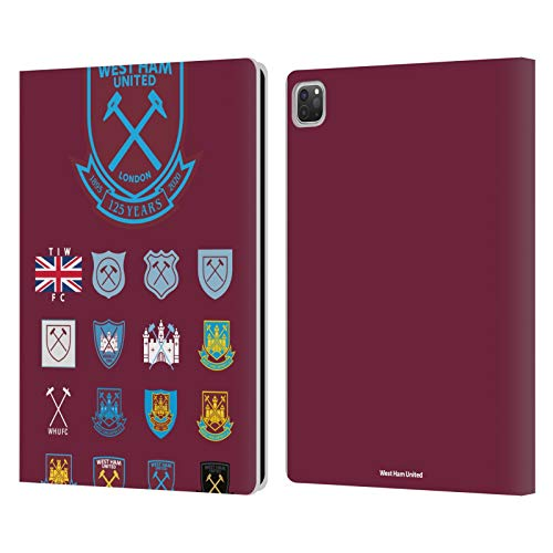 Head Case Designs Officially Licensed West Ham United FC Pattern 2 Crest History Leather Book Wallet Case Cover Compatible with Apple iPad Pro 12.9 (2020)