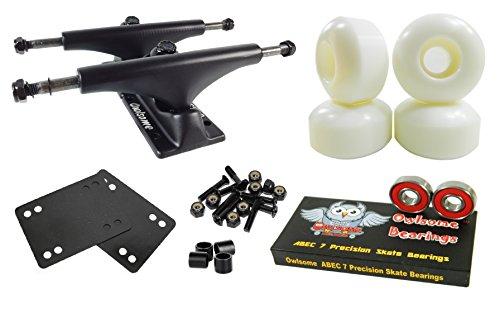 Owlsome 5.25 Black Aluminum Skateboard Trucks w/ 52mm Wheels Combo Set (White)