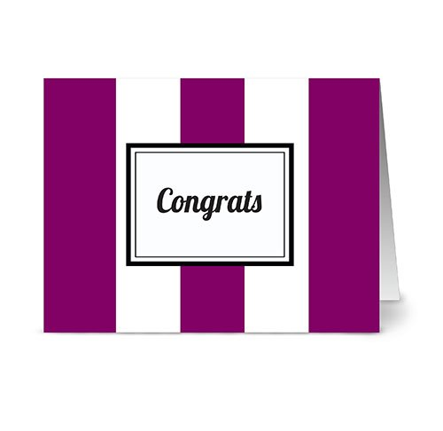 Modern Wide Stripe 'Congrats' Plum - 24 Cards - Blank Cards w/Grey Envelopes Included