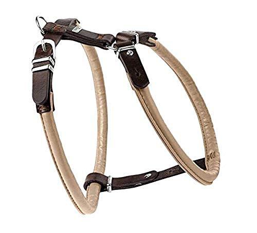 HUNTER CALGARY Hundegeschirr, Leder, weich, geschmeidig, rund, 60 (M), beige/tabak