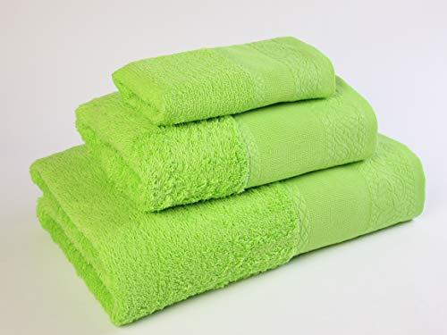 Flor Algodón Panama Juego 3 toallas algodón, VERDE