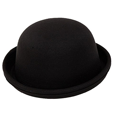 Fletion Femmes Enfants Hiver Laine Feutre rouleau Brim Billycock Cloche Bucket Bowler Derby Fedora Hat(Noir)