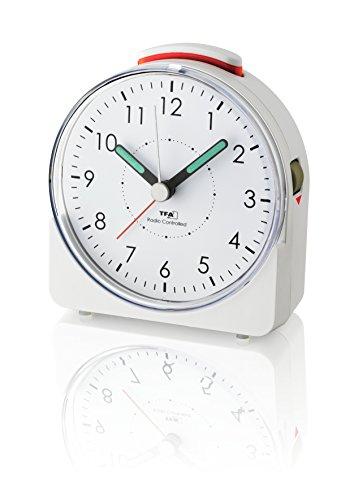 TFA Dostmann Analoger Funk-Wecker Sunrise, 60.1513.02, leises Uhrwerk, Weckalarm mit Snooze-Funktion, weiß