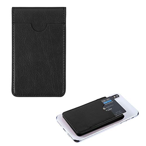 Pocket+Stylus, Fits Universal KYOCERA NOKIA GOOGLE etc. MYBAT Black Leather Adhesive Card Pouch/Stand. Soft Spandex Sleeve Secure Wallet for Most Phones,Tablets,Gadgets w Flat Surface.See Models below
