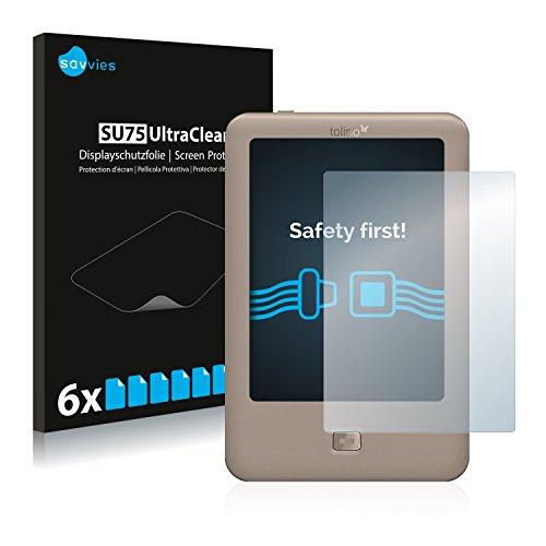 Savvies 6X Schutzfolie kompatibel mit Tolino Page Displayschutz-Folie Ultra-transparent