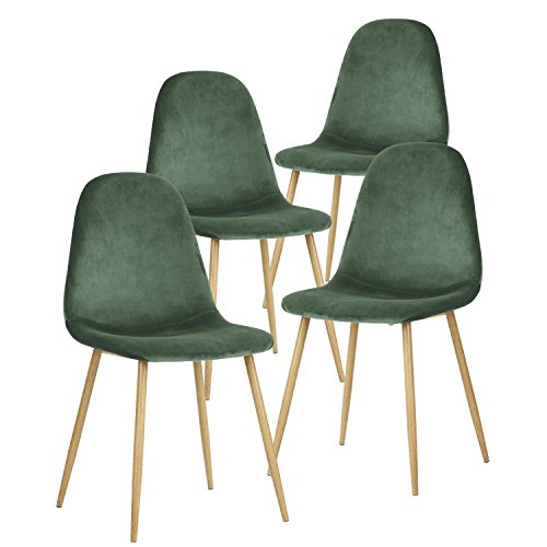 GreenForest Velvet Dining Chairs Set of 4 ,Dining Kitchen Room Chairs, Mid Century Modern Upholstered Side Chairs with Metal Legs,Dark Green