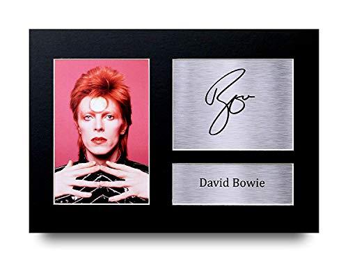 HWC Trading David Bowie A4 Sin Marco Regalo De Visualización De Fotos De Impresión De Imagen Impresa Autógrafo Firmado por Ziggy Stardust Glam Rock Aficionados A La Música