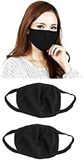 Outofbox Anti-Pollution Dust Cotton Unisex Mouth Mask(Set Of 2) Black
