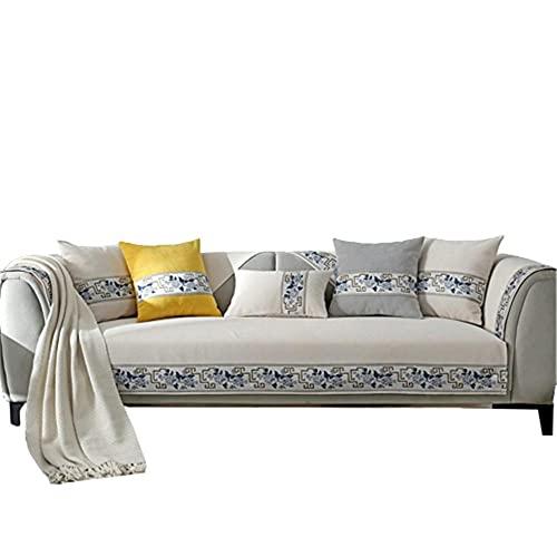 Fundas de sofá clásicas Chinas para Sala de Estar,Funda de sofá para sofá seccional de 1 2 3 4 plazas y Protector de Chaise Longue,Beige,110 * 110 cm