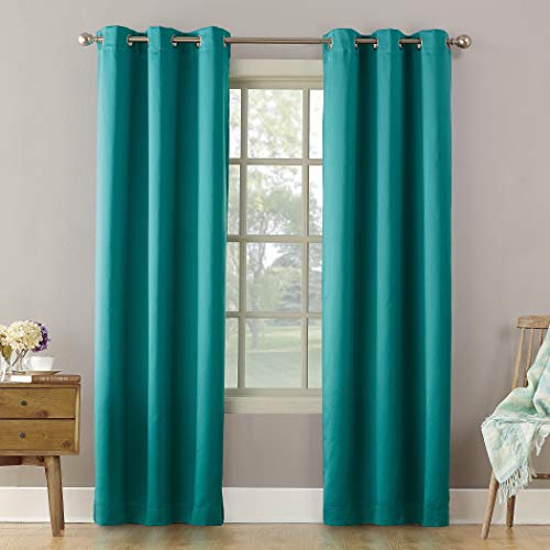 "Sun Zero Becca Energy Efficient Grommet Curtain Panel, 40"" x 84"", Marine Teal"