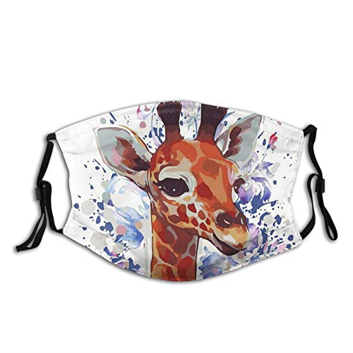 Cute Giraffe Giraffe Drawing Face Mask Washable Face Scarves Reusable Fabric With 2 Filters For Adults Gifts
