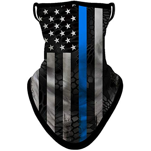 BNKIBN Flag Face Mask Bandana with Ear Loops Neck Gaiter Face Cover Scarf for Men Women for Sun Dust Wind, Blue (0303)
