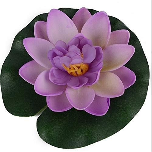 MINGMIN-DZ Dauerhaft 5 PCS Artificial Lotus Floating Blumenteich-Tank Pflanze Ornament 10cm Haus-Garten-Teich Dekoration (Color : Purple)