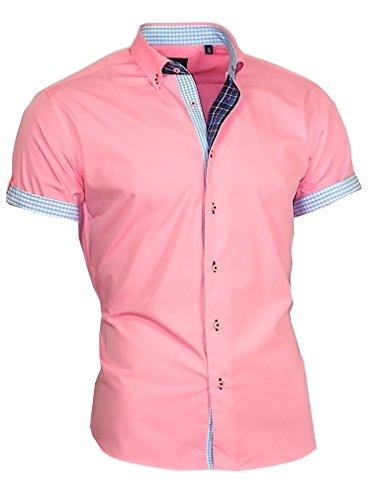 Louis Binder de Luxe Herren Hemd Shirt modern fit Kurzarm Button-Down-Kragen 833 rosa 4XL 50