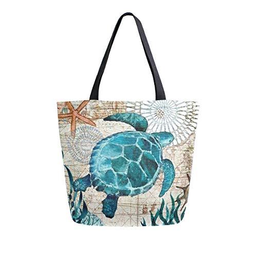 Naanle Ocean Turtle Canvas Tote Bag Large Women Casual Shoulder Bag Handbag, Sea Turtle Reusable Multipurpose Heavy Duty Shopping Grocery Cotton Bag for Outdoors.