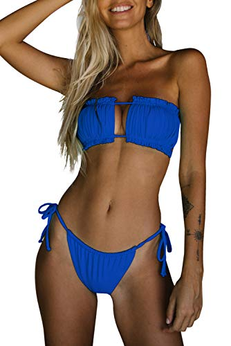 Byoauo Women Bandeau Bikini Top with Tie Side Thong Bathing Suit Royal Blue