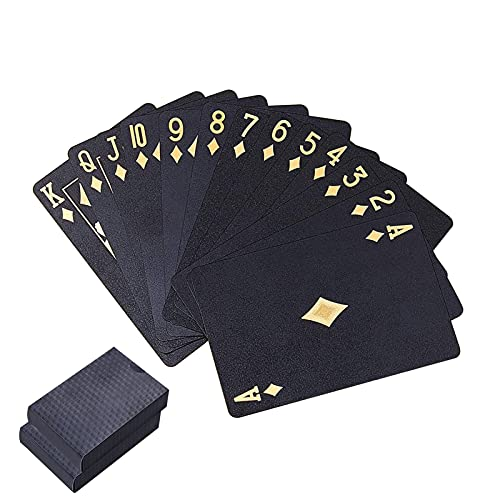2 Decks Permium Spielkarte wasserdichte Pokerkarten Kunststoff PVC Pokerkarte Neuheit Poker Spiel Werkzeuge für Ihr Poker Vergnügen (Schwarz)
