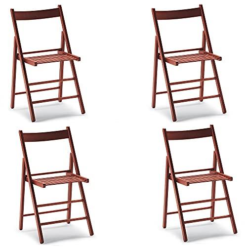 Stuhl Falten Platz sparen Holz Luxus farbiges Set VON 4 (Kirschbaum)