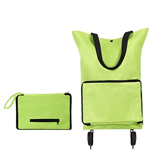 ErYao Collapsible Trolley Bags Folding Shopping Bag with Wheels Foldable Shopping Cart Reusable Shopping Bags Grocery Bags Shopping Waterproof Trolley Bag on Wheels, 28X18X4cm (Green)