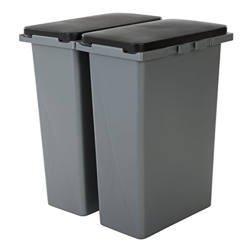 Amazon Basics RP-3 Müllbehälter, 2er-Set, Plastik, grau, 30 Liter x 2