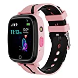 Kids Smart Watch GPS Tracker - Waterproof GPS Tracker Watch for Children Girls Boys with SOS Call Camera Touch Screen Game Alarm for Kids Boys and Girls (a. Pink)