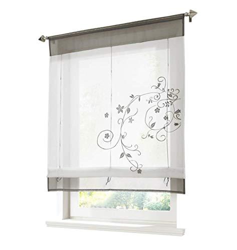 ZALAGO Vorhang Gardine Fenster Raffrollo Raffgardine Blume Sticken Grau,100x140cm