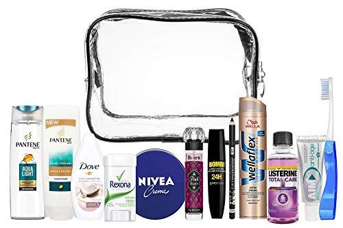 A2S Reiseset für Damen Bundle (Bi Es Perfume, AIM, Dove Shower Gel, Nivea Creme, Nivea Deo Roll-on, Pantene PRO-V Conditioner, Pantene PRO-V Shampoo, Davis, Listerine, Wellaflex, Bella Oggi Mascara)