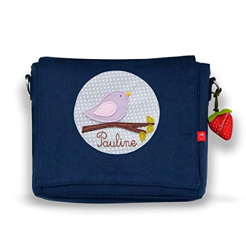 Kindergartentasche & Kindergartenrucksack in einem: Vögelchen für Mädchen (mit Namen) in blau
