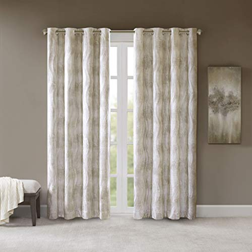 SUNSMART Victorio Printed Jacquard Grommet Top Total Blackout Curtain Ivory 50x95