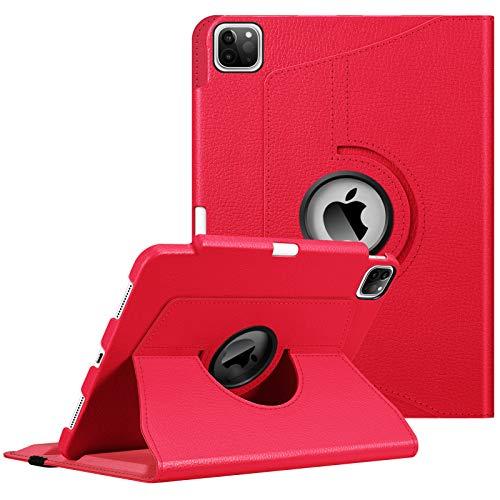 Fintie Case with Built-in Pencil Holder for iPad Pro 11' 2020 & 2018 [Support 2nd Gen Pencil Charging Mode] - 360 Degree Rotating Stand Protective Cover with Auto Sleep/Wake, Red