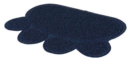 Trixie 40383 Vorleger für Katzentoiletten, Pfote, PVC, 60 × 45 cm, dunkelblau
