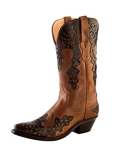 Old West Brown Womens Overlay Leather 12in Fancy Cowboy Boots Boots 8.5 B
