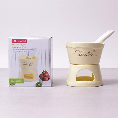 Keramik Schokofondue Fondue Set 4-tlg. Käsefondue Teelichtfondue Tapas Käse für 2 Personen