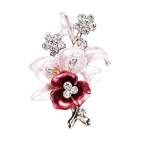 Bodhi200 0 broches de esmalte, joyería de fiesta de boda, diamantes de imitación, broche de flor para mujer, regalos de moda para Navidad