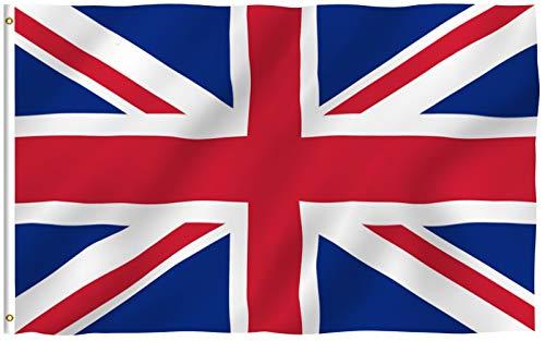 Anley Fly Breeze 90 x 150 cm Bandera Reino Unido UK - Colores Vivos y Resistentes a Rayos UVA - Bordes Reforzados con Lona y Doble Costura - Nacional Inglesa Banderas Poliéster con Ojales de Latón