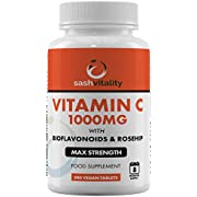 Vitamin C 1000mg with Bioflavonoids and Rosehip - 240 Vegan Tablets (8 Months Supply) - Contributes to The Maintenance of a Normal Immune System – UK Made Sash Vitality