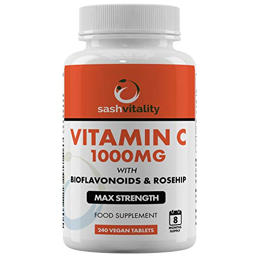 Vitamin C 1000mg - 240 Vegan Tablets (8 Months Supply) - Added Bioflavonoids & Rosehip - Supports The Immune System and Reduces Tiredness and Fatigue - UK Made Sash Vitality