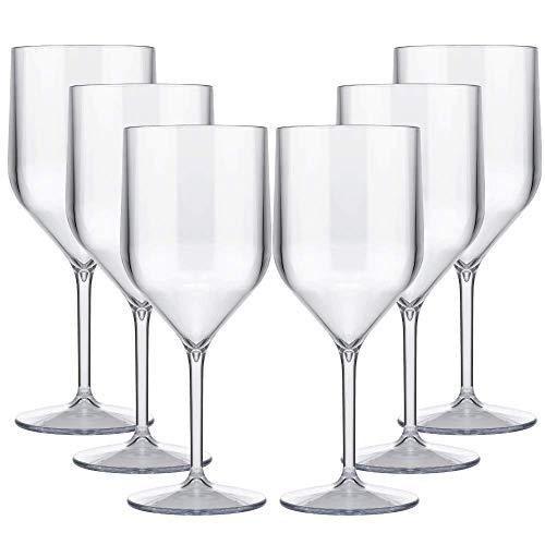 TUNDRA ICE INTERNATIONAL Set 6 Pezzi Croisiere 25Cl in Policarbonato (Plastica Rigida), Calici vino 100% Design Italiano, Bicchieri Infrangibili, Riutilizzabili Lavabili in Lavastoviglie, Trasparente