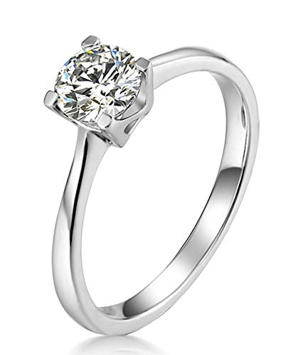 AtHomeShop 925 Sterling Silver Rings for Women, White Cubic Zirconia Confidence Ring, Elegant Wedding Rings, Women's Rings, 4 Bridge Claw Setting, Real Gold Jewellery with Jewellery Box silver