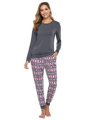 Hawiton Pijama Invierno Mujer Algodon Mangas Larga Pantalon Largo 2 Piezas Talla Grande