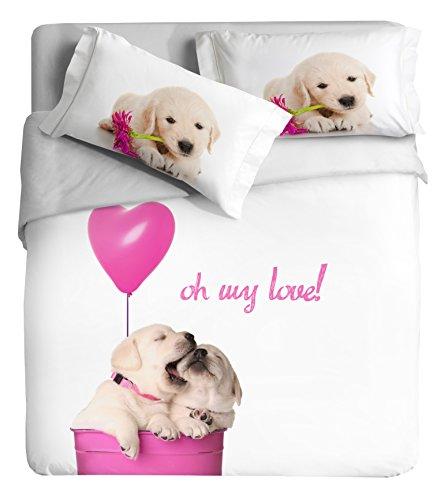 Ipersan Dessin Funny Dogs asciugapassi, Tapis d'entrée pour extérieur, Motif décoratif, 100% Coton, Rose, Lit, 255 x 240 x 0,5 cm, 3 unités