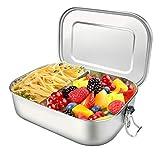 ZKIAH Fiambrera de Acero Inoxidable 1400ml , Fiambreras con Compartimentos, lunch box para Niños y Adultos sin Plástico y BPA
