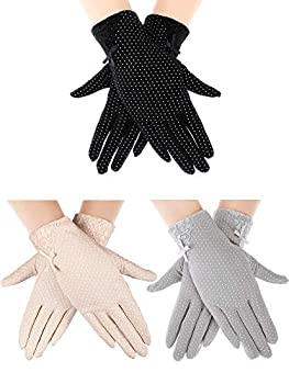 Boao 3 Pairs Women Sun Protective Gloves UV Protection Sunblock Gloves Touchscreen Gloves for Summer Driving Riding
