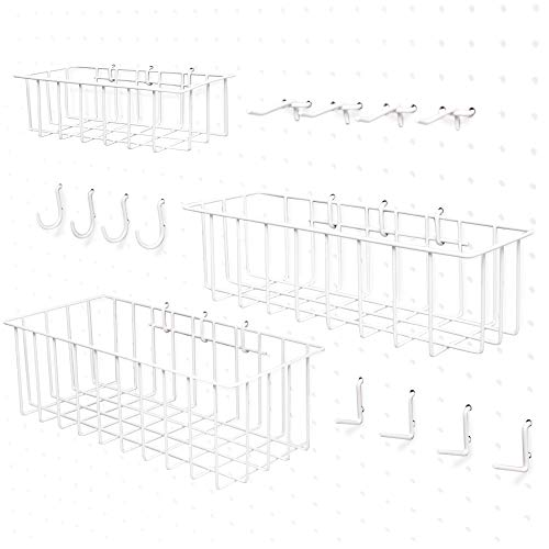 Pegboard Accessories Organizer Peg hooks Pegboard wall mount baskets set and hook assortment 14 or 316 White Powder Coated